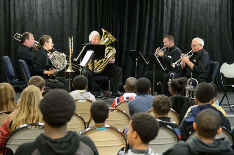 The Treasure Coast Brass Quintet Performs for students at the East Stuart Recreation Center.