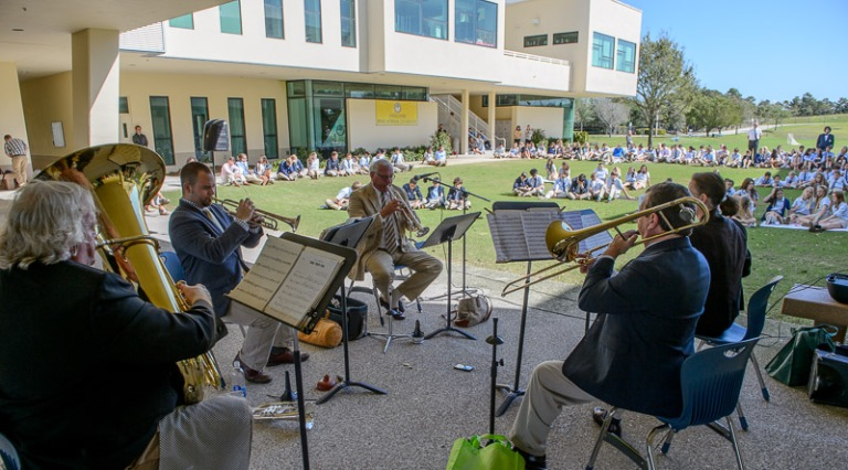 The Treasure Coast Brass Quintet Performs for students at the Hobe Sound Campus of The Pine School