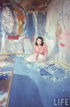 "Helen Frankenthaler in her New York City studio Photographed by Gordon Parks, 1956. Published in May 1957 Issue of Life in the spread headlined ""Women Artists in Ascendance"""
